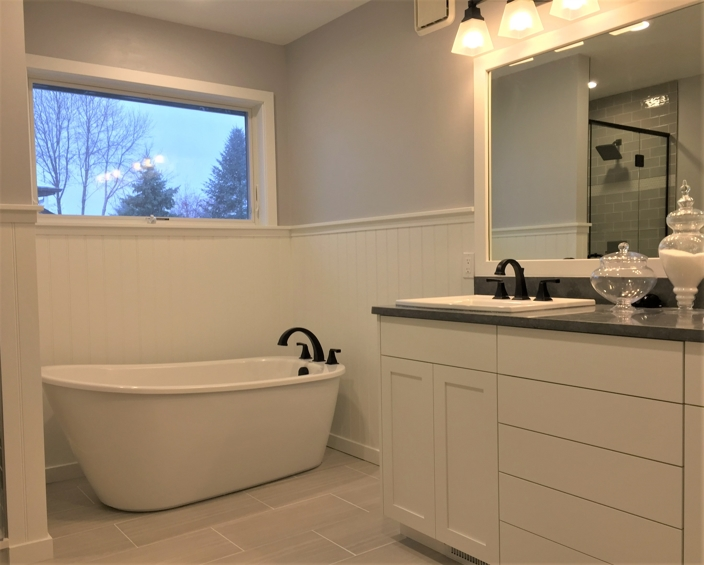 newly renovated bathtub & sink
